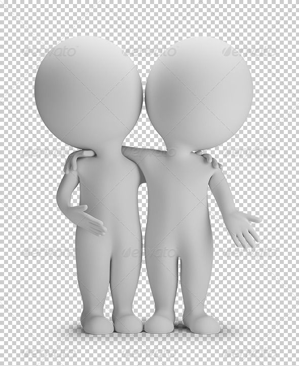 3d small person two friends are hugging. 3d image.