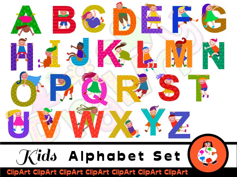 Cute Diverse Kids Alphabet Clip Art.