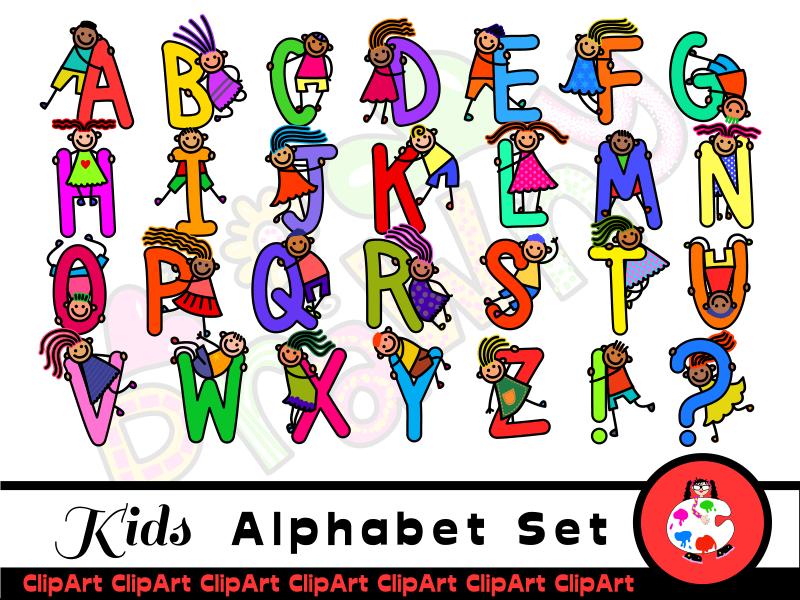 Diversity Kids Clip Art Alphabet.