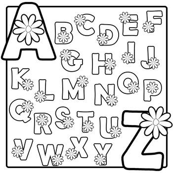 Spring Flower Alphabet Clip Art (Black and White).