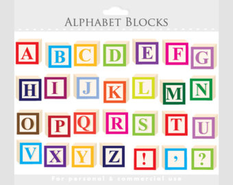 Building Block Letters Clipart.
