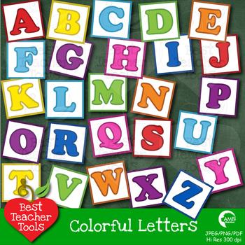 Letters Clipart, Alphabet Clipart, Letter Blocks in Bright Colors AMB.