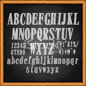Alphabet lettering on chalkboard Clipart Image.