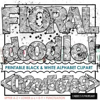 FLORAL Coloring Alphabet ClipArt PNG.
