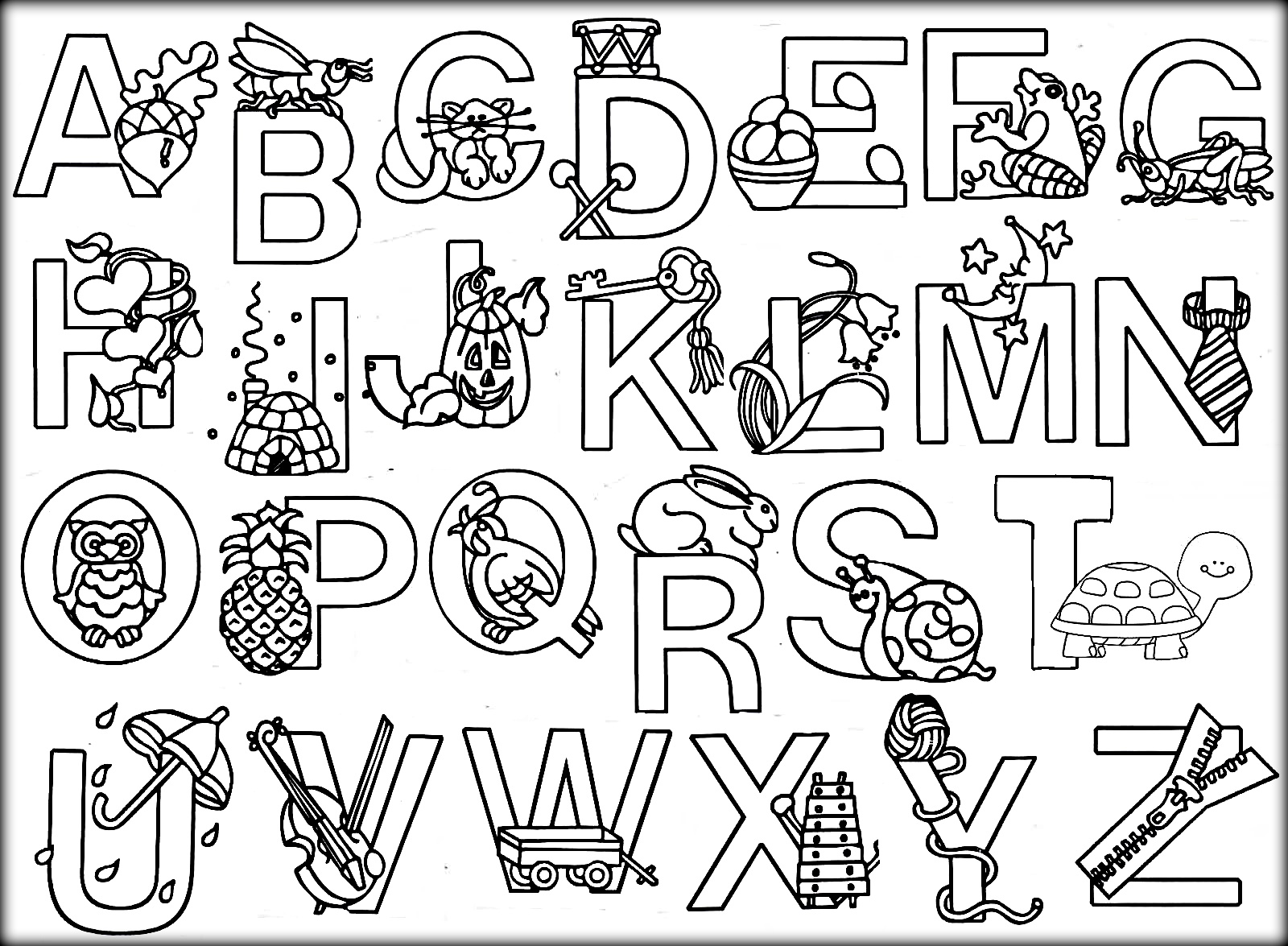 Alphabet Coloring Pages With Pictures.