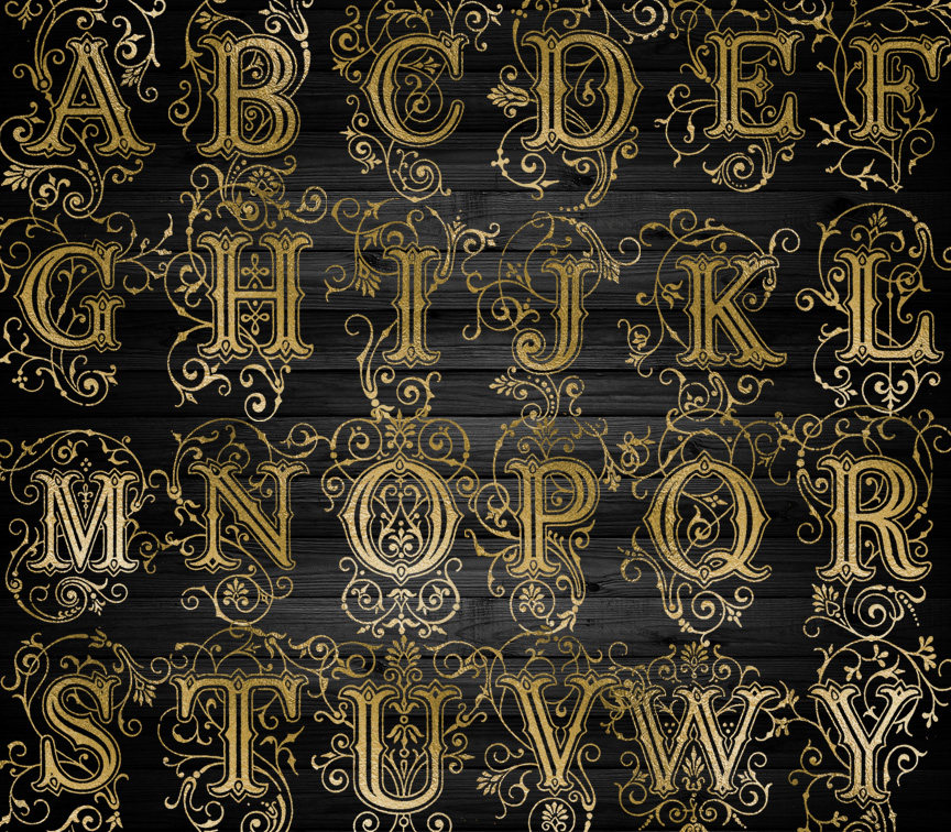 Old Gold Alphabet Clipart.