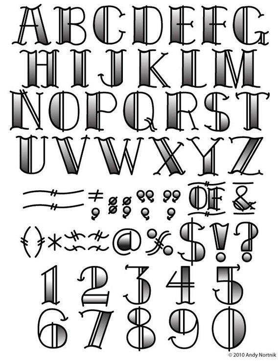 Tattoo Clip Art Clipart Fonts Vector Lettering Clip Art Set.