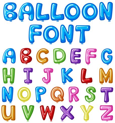Balloon font design for english alphabets in many colors.