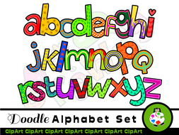Hand Drawn Alphabet ClipArt Letters.