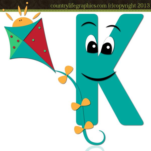 K Alphabet Clipart.
