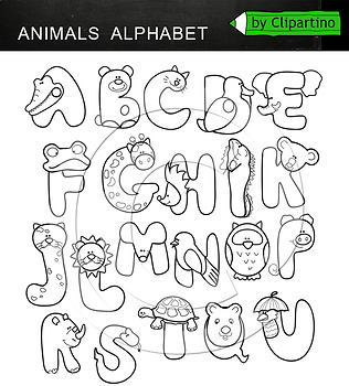 Animals Alphabet Clipart Letters.