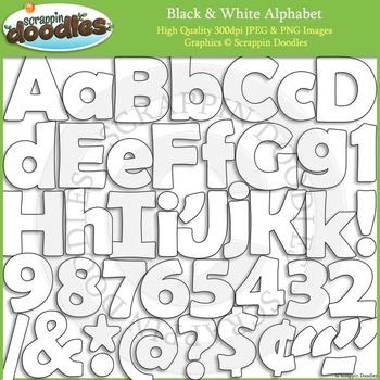 Black & White Solid Line Alphabet.