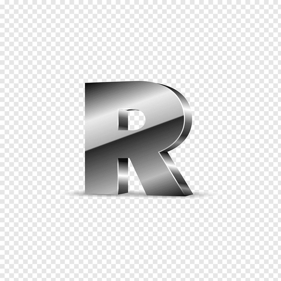 R logo, Letter Alphabet I, Silver black letters R free png.