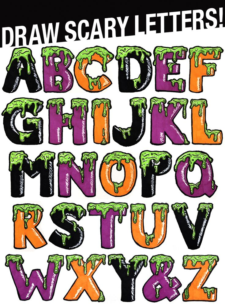 Draw Scary Letters for Halloween! Learn step by step how to.
