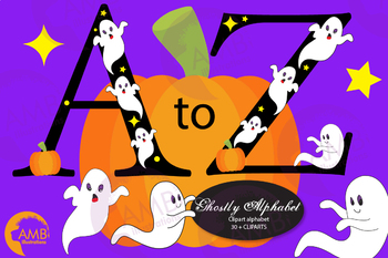 Ghost alphabet, Halloween letters, Spooky alphabet clipart, AMB.