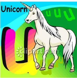 U\' Is For \'Unicorn\' Alphabet Letter.