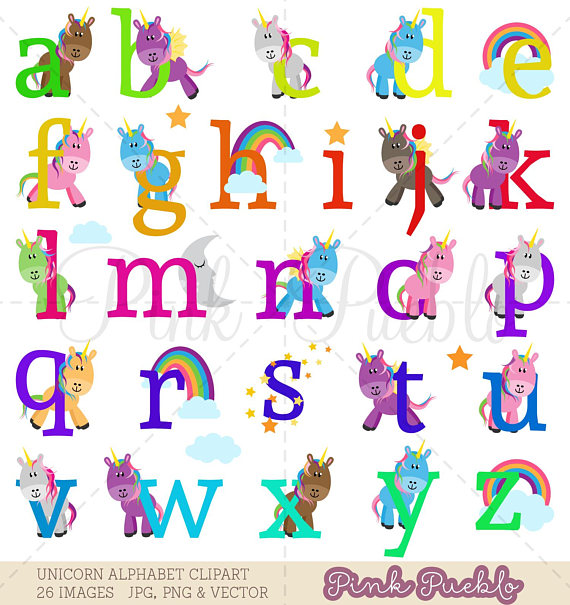 Unicorn Alphabet Clipart, Unicorn Alphabet Clip Art, Unicorn.