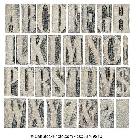 alphabet and punctuation in wood type.