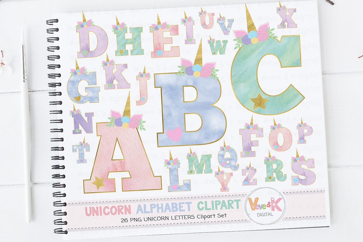 Unicorn Letters, Unicorn Letters Clipart, Unicorn Alphabet, Alphabet  Clipart, Unicorn Clipart, Unicorn Graphics, Unicorn Alphabet Clipart.