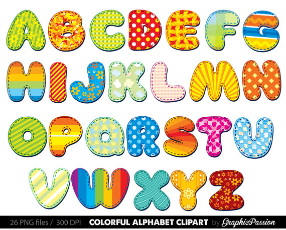 Alphabet clipart color alphabet Digital alphabet letters.