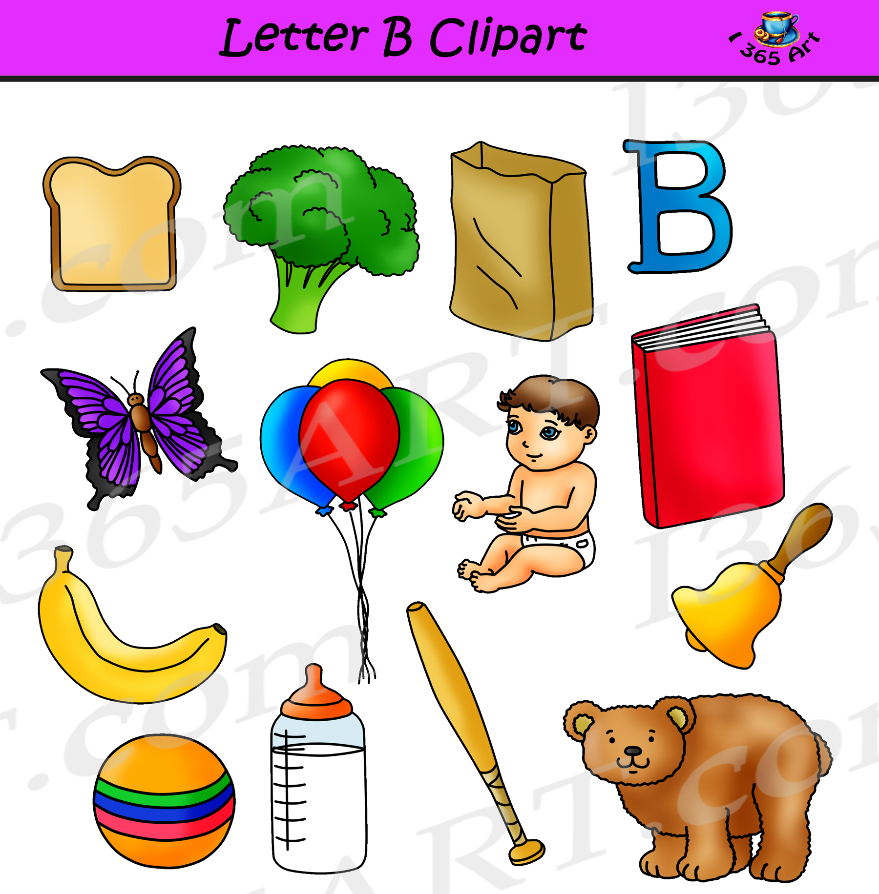 Letter B clipart objects.