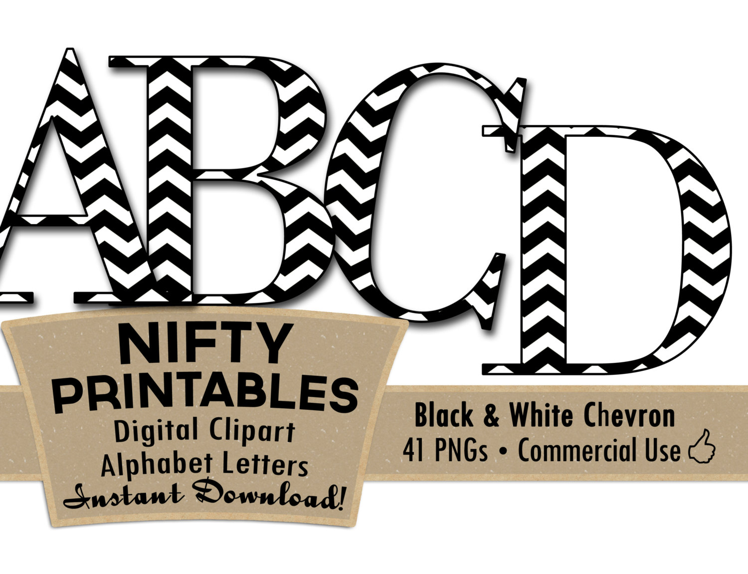 Lower Case Black And White Chevron Clip Art Alphabet Letter Set.