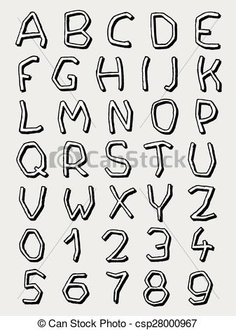 Clip Art Vector of Black and white irregular letters.
