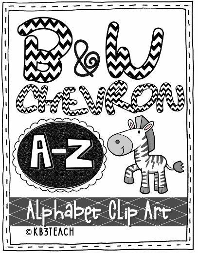Alphabet Letters Clipart: Black Chevron Zebra Set (Uppercase A.