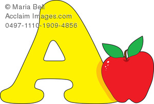 Alphabet Letter A is for Apple Clipart Image.