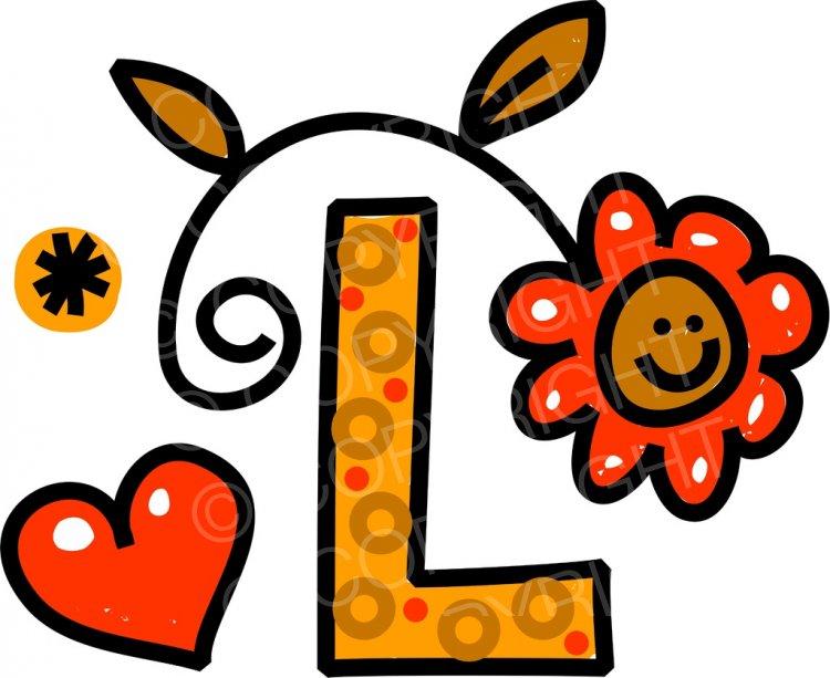 Whimsical Cartoon Alphabet Letter L.