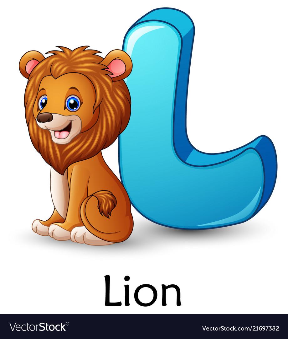 Letter l is for lion cartoon alphabet.