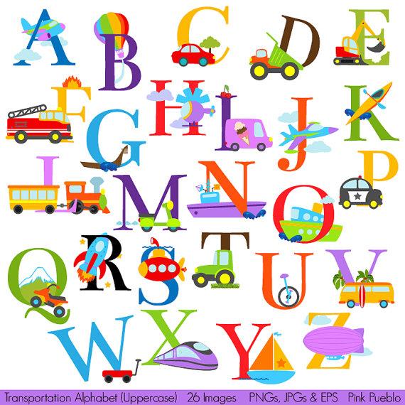 Transportation Alphabet Clipart Clip Art, Construction.