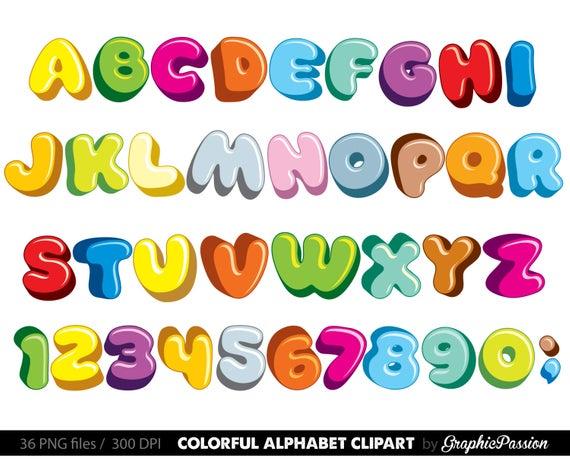 Fluffy Alphabet clipart color alphabet Digital alphabet letters clipart  Digital letters Clip art alphabet Clip art letters clipart.