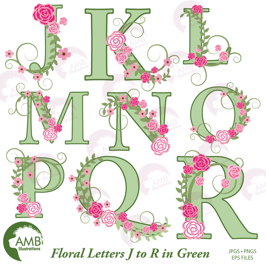 Floral Alphabet clipart, Wedding Floral Letters in Green, Letter Clipart J  to R, Floral clipart, AMB.