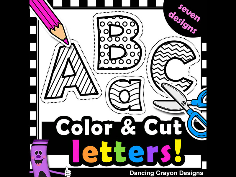 Clip Art Alphabet Letters with Cutting Lines.