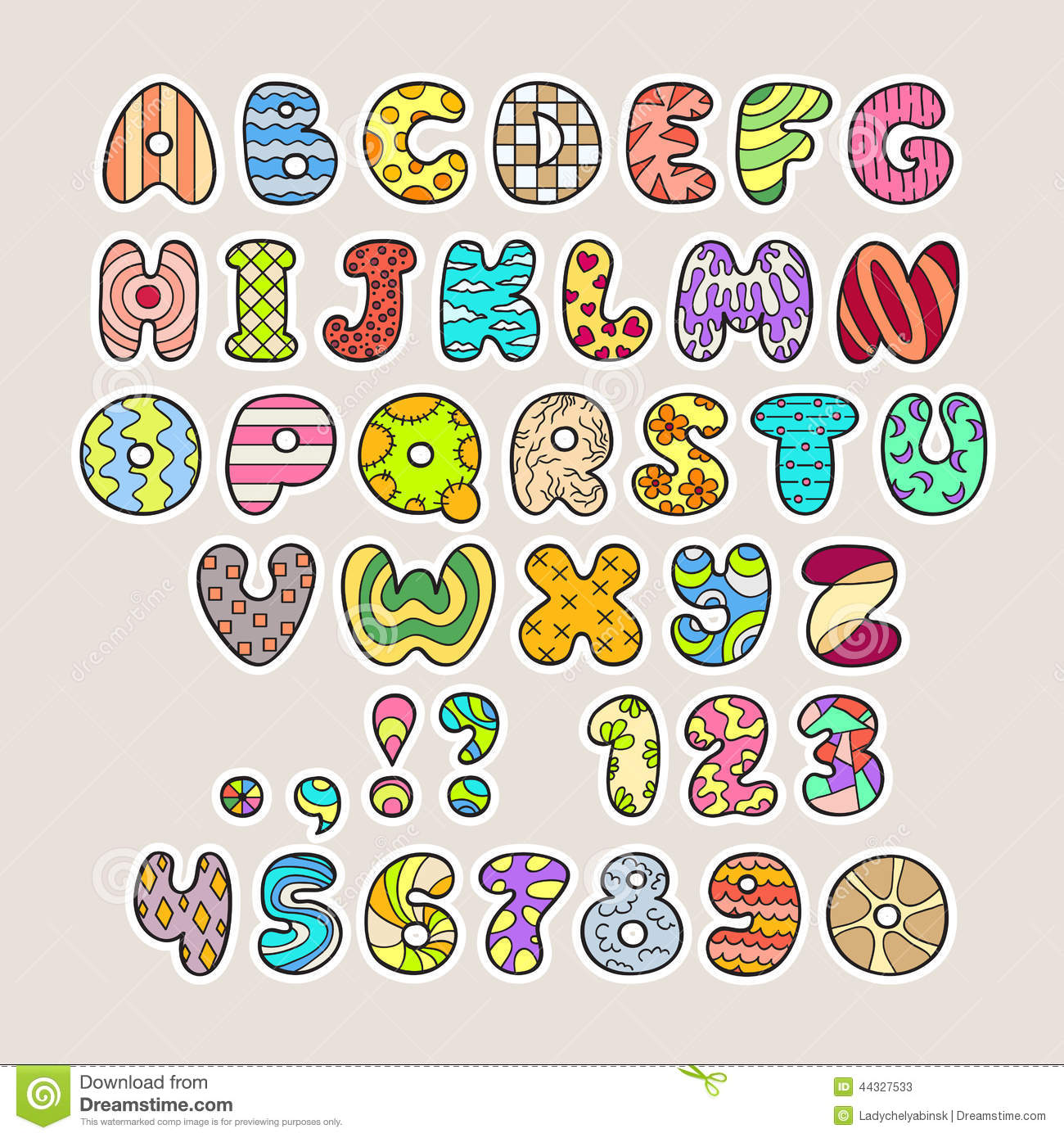 Stylized Colorful Alphabet And Numbers In Vector Stock Vector.
