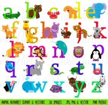 Lowercase Animal Alphabet Clipart Clip Art.