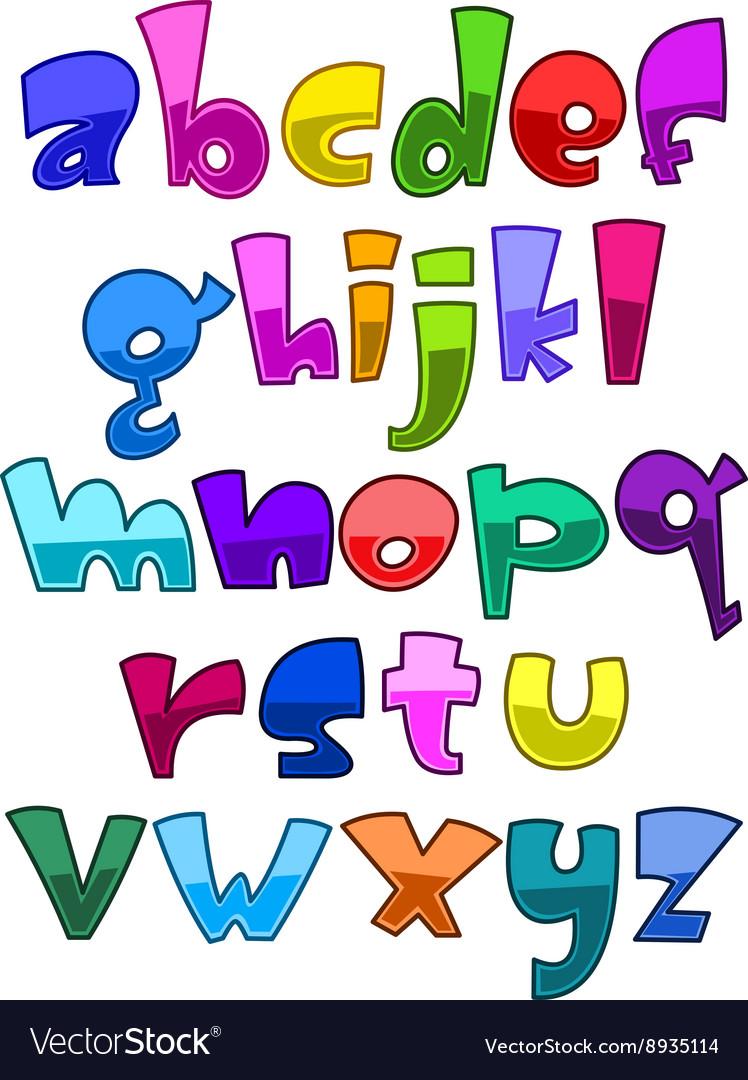 Bright cartoon lower case alphabet.