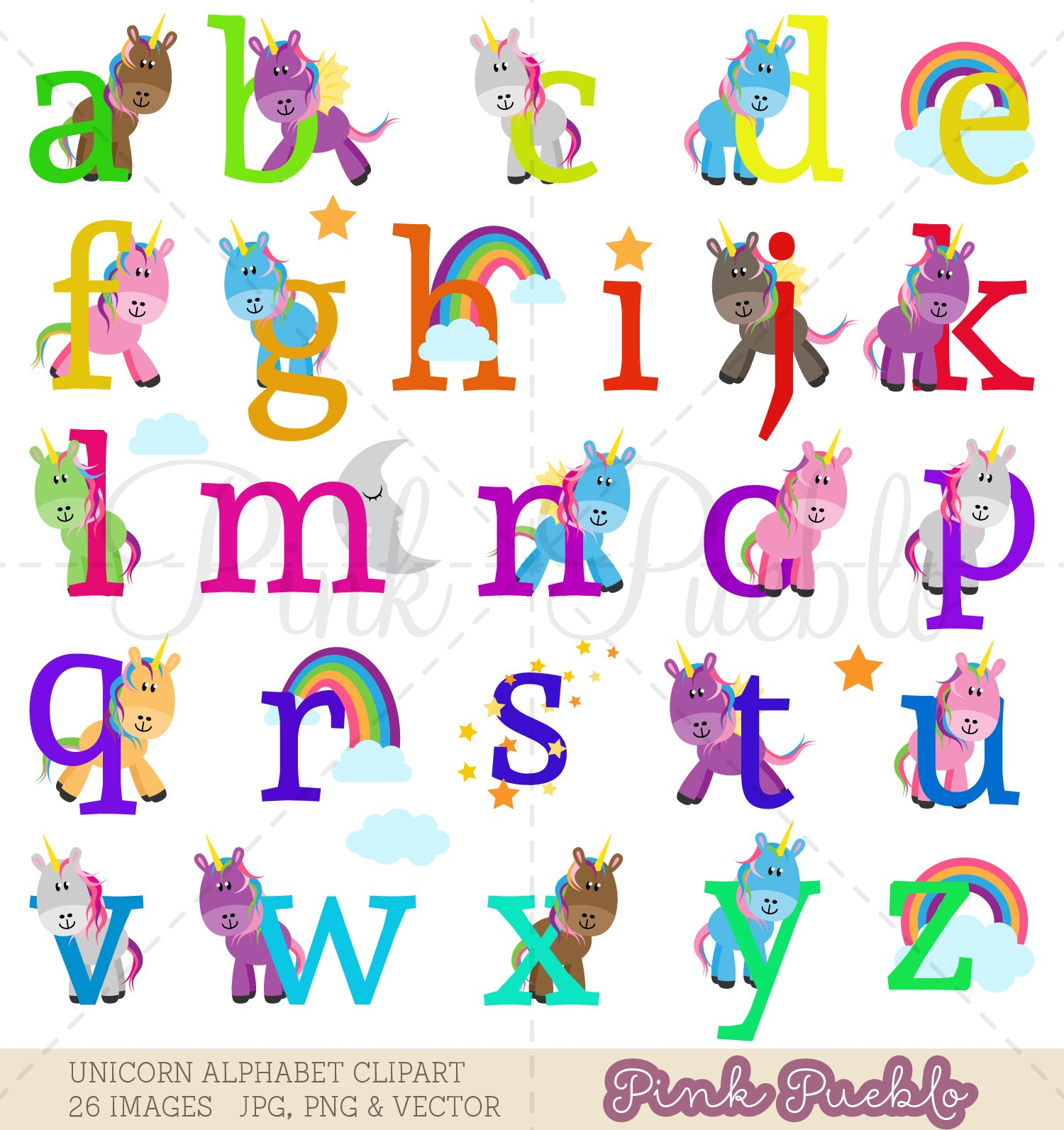 Lowercase Unicorn Alphabet Clipart & Vectors.