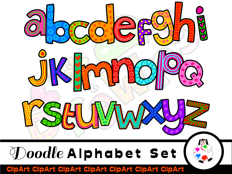 Hand Drawn Lowercase Alphabet Clip Art.