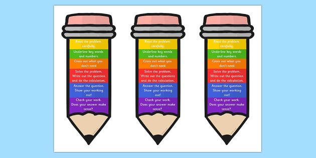 Problem Solving Pencil Bookmark or Visual Aid.