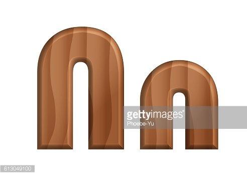 Nature wooden texture font.