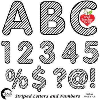 Alphabet Clipart, Striped Letters, Numbers, Symbols, Black.
