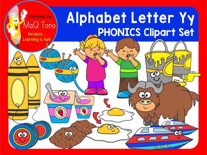 Alphabet Letter Yy Phonics Clipart Set.