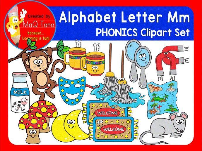 Alphabet Letter Mm Phonics Clipart Set.