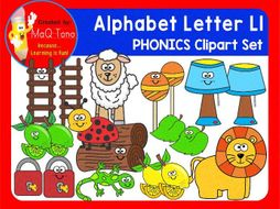 Alphabet Letter Ll Phonics Clipart Set.