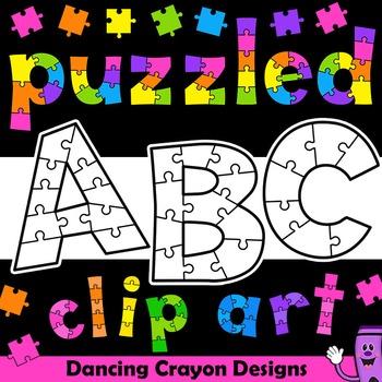 Alphabet Clip Art Puzzle Effect.
