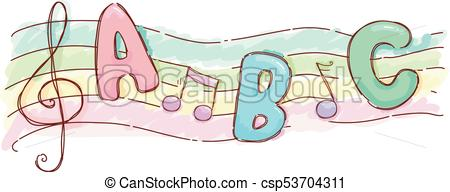 Music Sheet Alphabet Song Illustration.