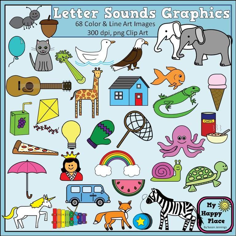 Alphabet Sounds Clip Art: Phonics Graphics for Commercial.