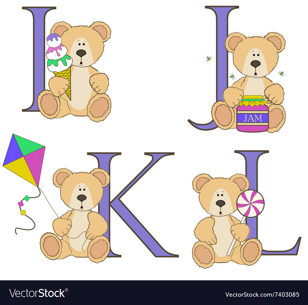 Teddy bear alphabet i j k l with.